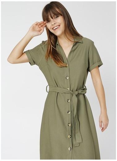 Limon Company Limon Nef Haki V Yaka Kadın Elbise Haki